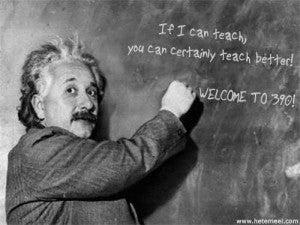 Einstein at the chalkboard!