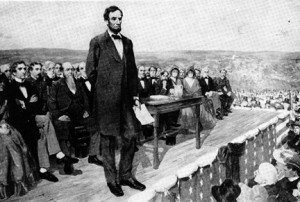 Lincoln Lecturing at Gettysburg - a hard act to follow!